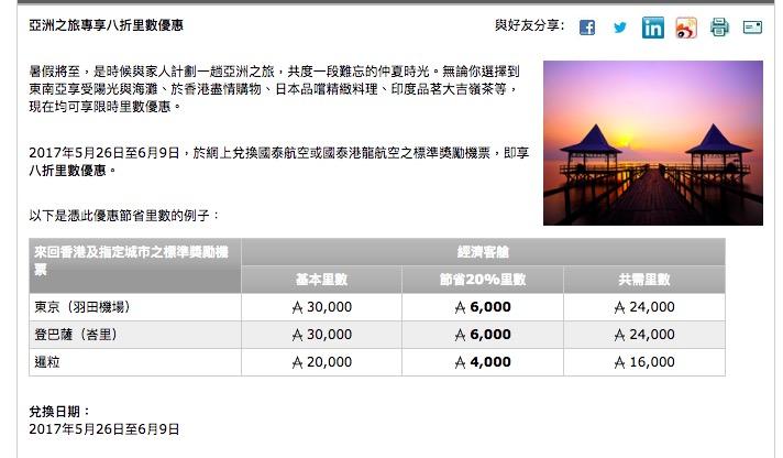 Asia Miles 又有8折兌換優惠!今次居然仲要暑假都包!經濟艙來回東京羽田、峇里只係24,000里!