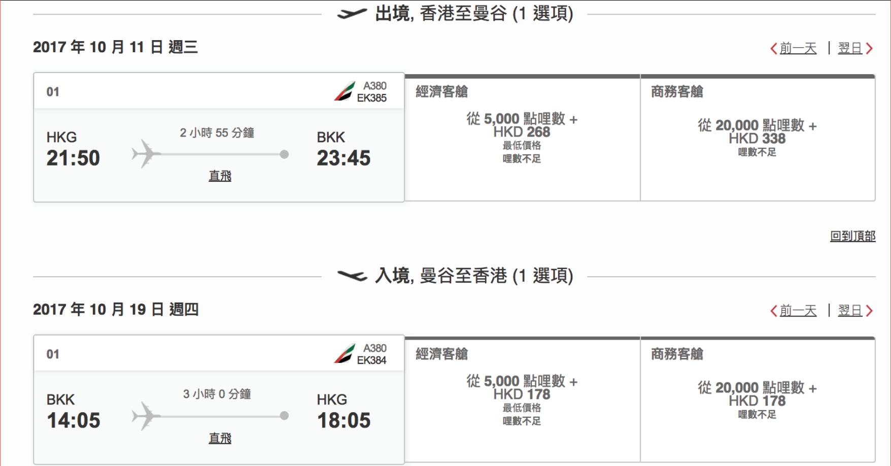 超級抵!Emirates 里數換Emirates 來回經濟曼谷機票只係10,000里!