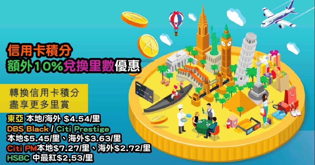 Asia Miles 特選客戶推廣!4月15日前登記及將信用卡積分轉換成里數,可獲額外10%里數!東亞$4.54/里、DBS/Citi $5.45/里、HSBC$2.53/里!