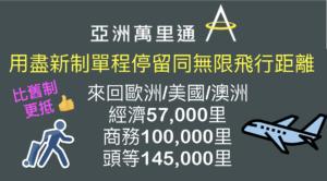 亞洲萬里通新制新換法!來回歐/美/澳商務100,000里、頭等145,000里!