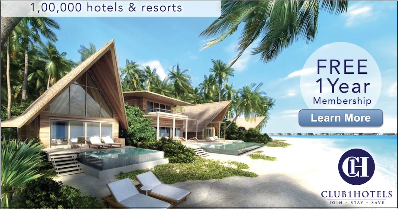 酒店訂購網站Club 1 Hotels免費會藉註冊連結 (首次5%預訂折扣 及 USD$200 Gift Card 抽獎)