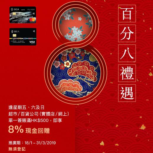 東亞銀行信用卡 – 超市/百貨公司8%現金回贈 (東亞Flyerworld 信用卡額外$5/里 + 東亞Visa Signature卡額外0.4%)