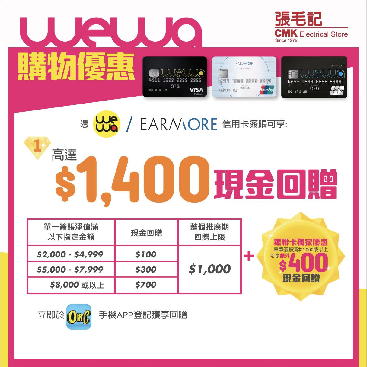 CMK x WeWa 購物優惠簽賬可享高達HK$1,400現金回贈!用安信WeWa銀聯 或 安信Earnmore銀聯買$11,000回贈高達$1,320!食埋迎新最高仲有$2,520現金回贈!