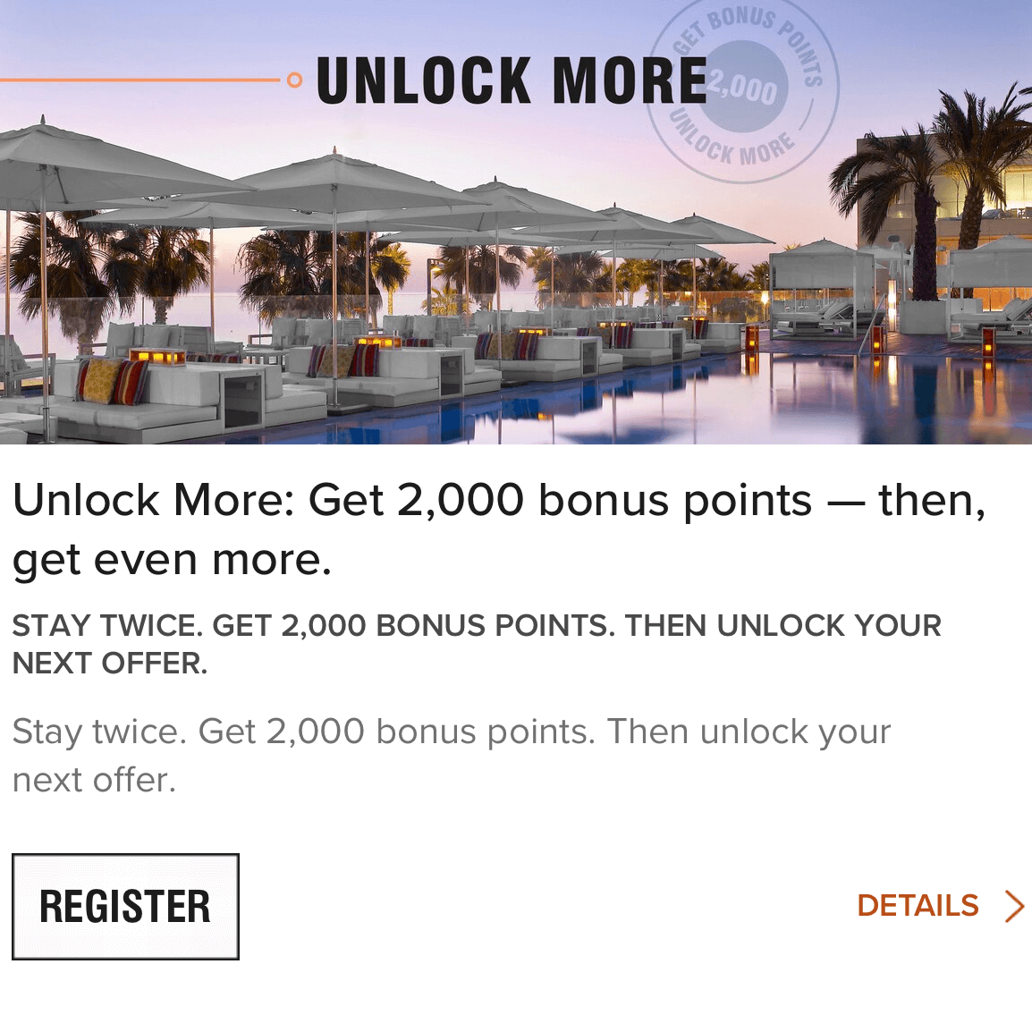 Marriott Bonvoy - 2019年Q4 Unlock more積分活動,入住兩次可獲2,000分之後可以解鎖下一個活動!