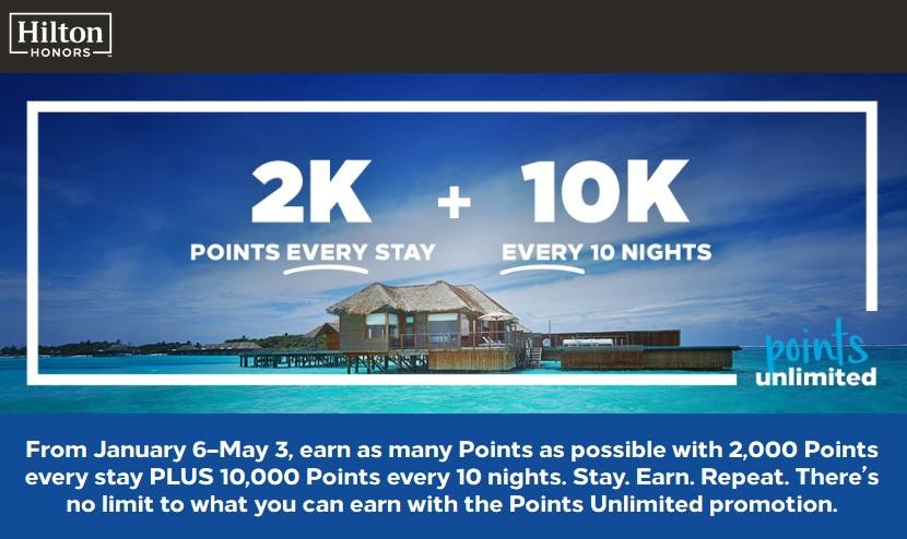 Hilton Honors - Points Unlimited 積分活動!住一晚額外2,000分!10晚再多10,000分!